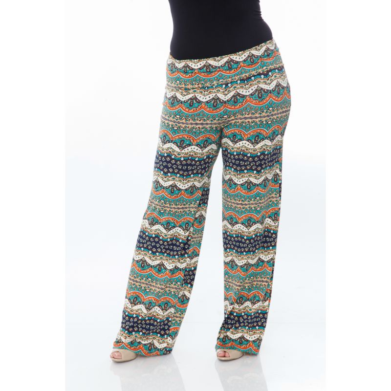 Women's Printed Palazzo Pants - Teal/Navy-Daily Steals