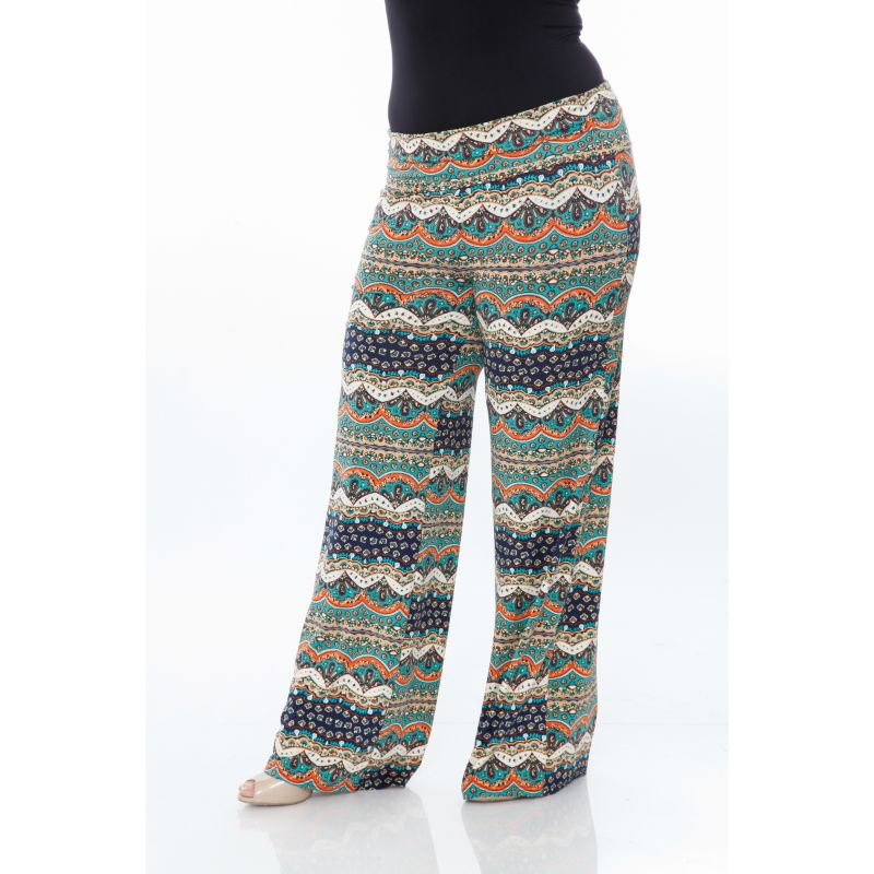 Women's Printed Palazzo Pants - Teal/Navy-XL-Daily Steals