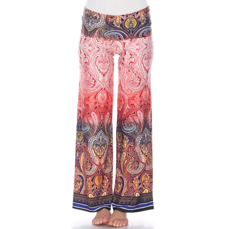 Women's Printed Palazzo Pants - Tingle Red-S-Daily Steals