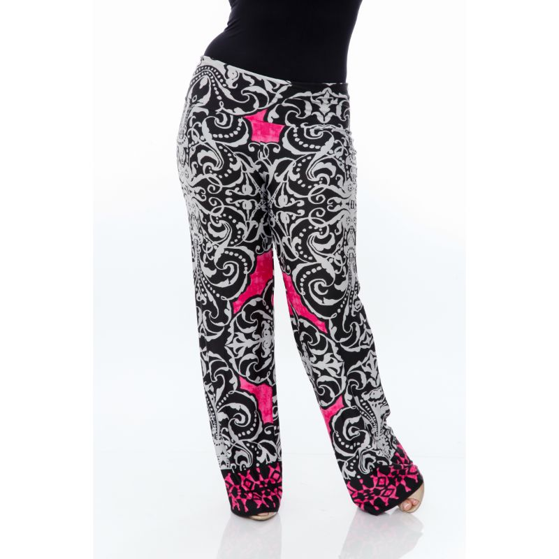 Women's Printed Palazzo Pants - White & Fuchsia Pink-Daily Steals