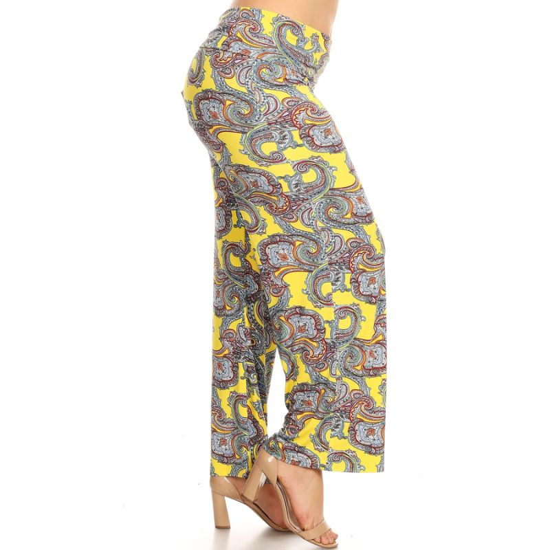 Women's Printed Palazzo Pants - Yellow Paisley-Daily Steals