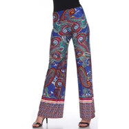 Women's Printed Palazzo Pants - Royal/Burgundy-S-Daily Steals