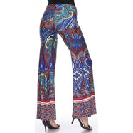 Women's Printed Palazzo Pants - Royal/Burgundy-Daily Steals