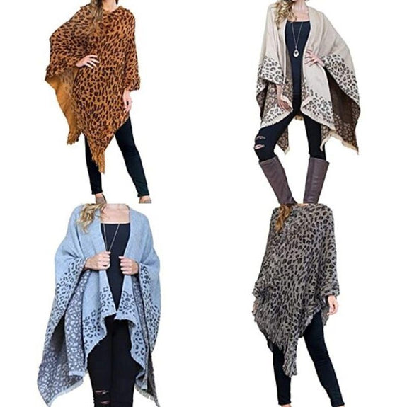 Women's Ultra-Warm Turtleneck Ponchos With Fringes - 2 Pack-Animal Print-Daily Steals