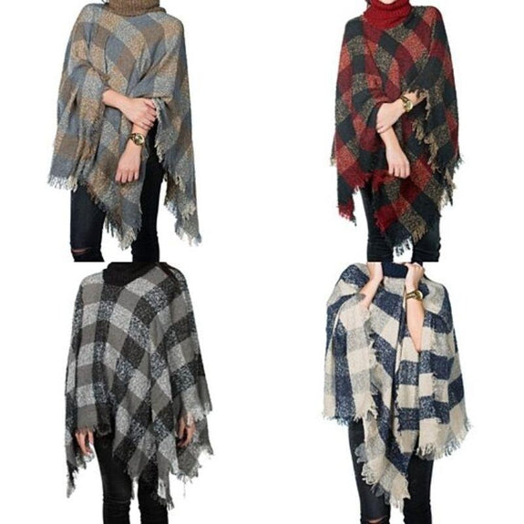 Women's Ultra-Warm Turtleneck Ponchos With Fringes - 2 Pack-Plaid Print-Daily Steals