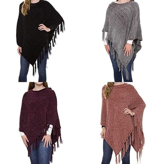 Women's Ultra-Warm Turtleneck Ponchos With Fringes - 2 Pack-Solid Print-Daily Steals