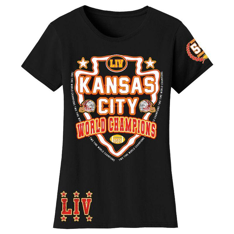T-shirts et manches longues Champions de football 2020 pour femme - Kansas City-Shield - Noir-T-Shirt-S-Daily Steals