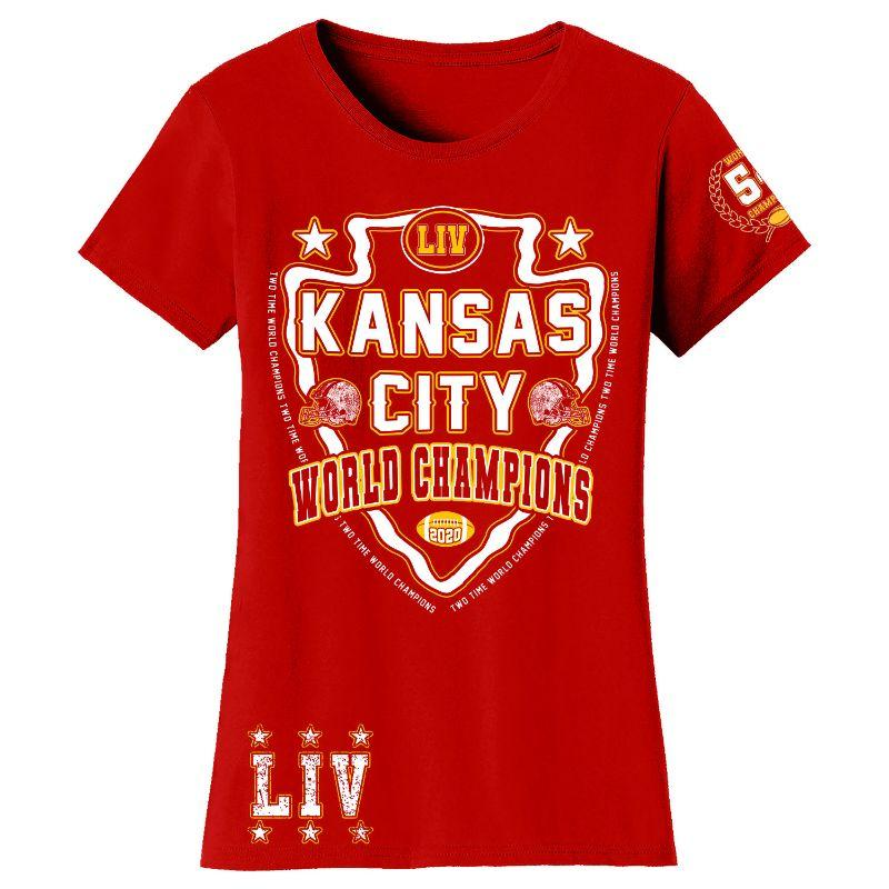 T-shirts et manches longues Champions de football 2020 femme - Kansas City-Shield - Rouge-T-Shirt-M-Daily Steals