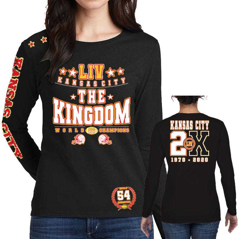 T-shirts et manches longues Champions de football 2020 pour femme - Kansas City-The Kingdom - Noir-Manches longues-XL-Daily Steals