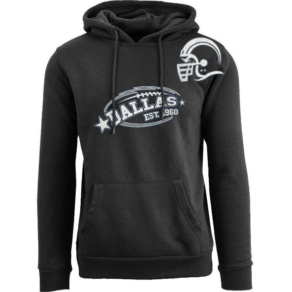 Women's All-Star Football Pull Over Hoodie-Dallas - Black-S-Daily Steals