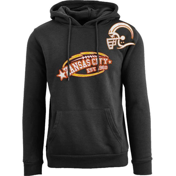Women's All-Star Football Pull Over Hoodie-Kansas City - Black-XL-Daily Steals