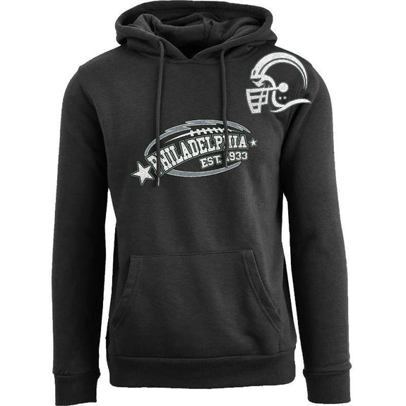Women's All-Star Football Pull Over Hoodie-Philadelphia - Black-S-Daily Steals