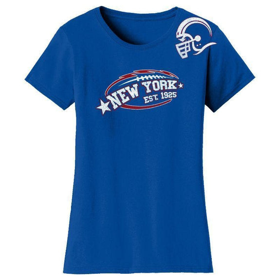 Women's All-Star Football T-Shirts-New York - Royal Blue-S-Daily Steals