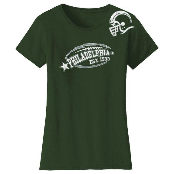 Women's All-Star Football T-Shirts-Philadelphia - Forest Green-S-Daily Steals