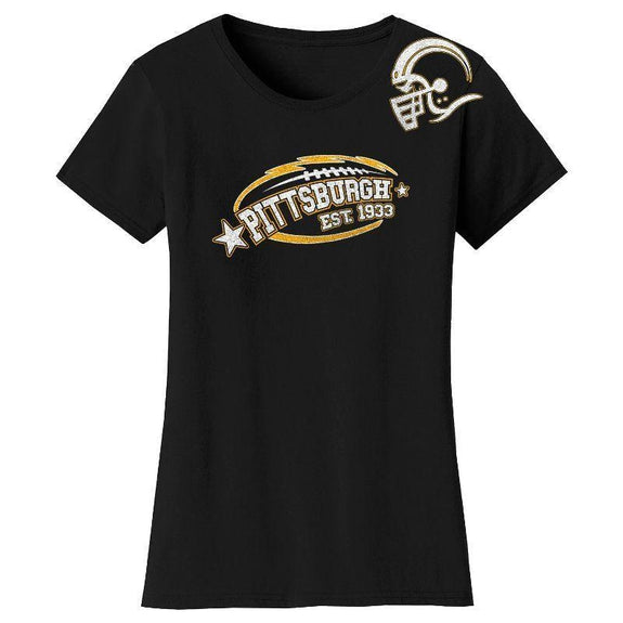 Women's All-Star Football T-Shirts-Pittsburgh - Black-S-Daily Steals