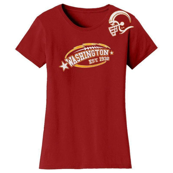 Women's All-Star Football T-Shirts-Washington - Burgundy-S-Daily Steals