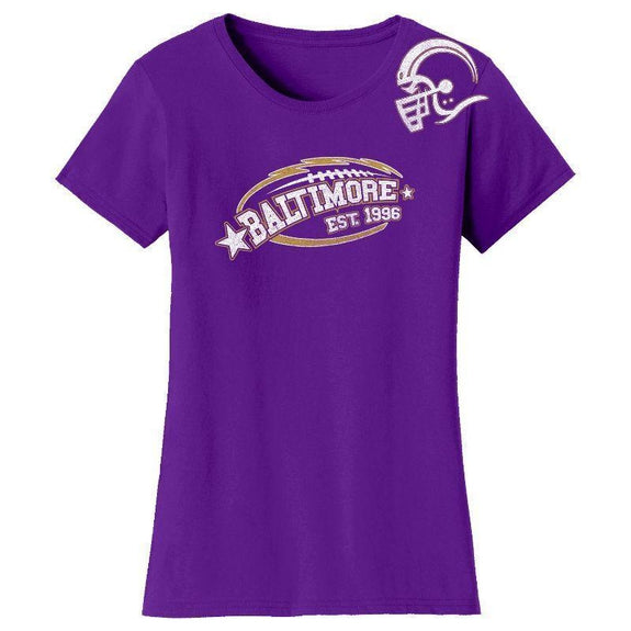 Women's All-Star Football T-Shirts-Baltimore - Purple-S-Daily Steals