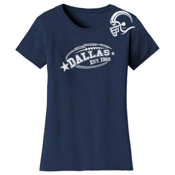 Women's All-Star Football T-Shirts-Dallas - Navy-S-Daily Steals