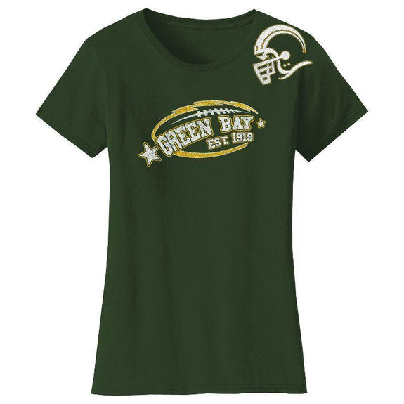 Women's All-Star Football T-Shirts-Green Bay - Forest Green-M-Daily Steals