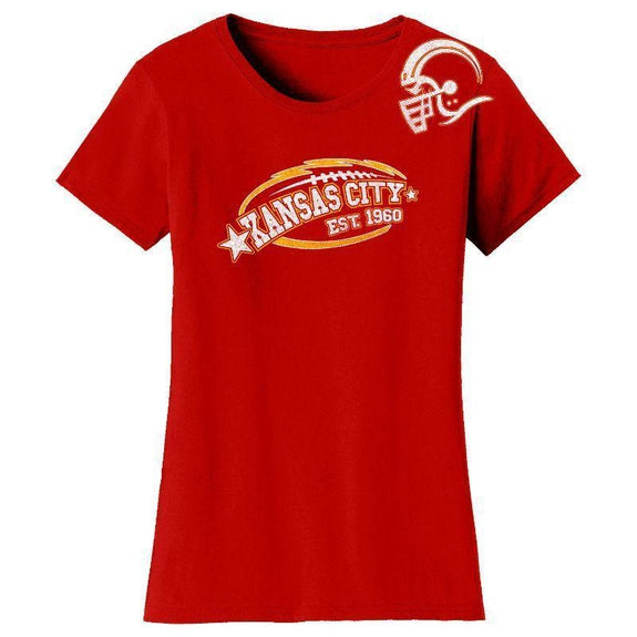 Women's All-Star Football T-Shirts-Kansas City - Red-S-Daily Steals