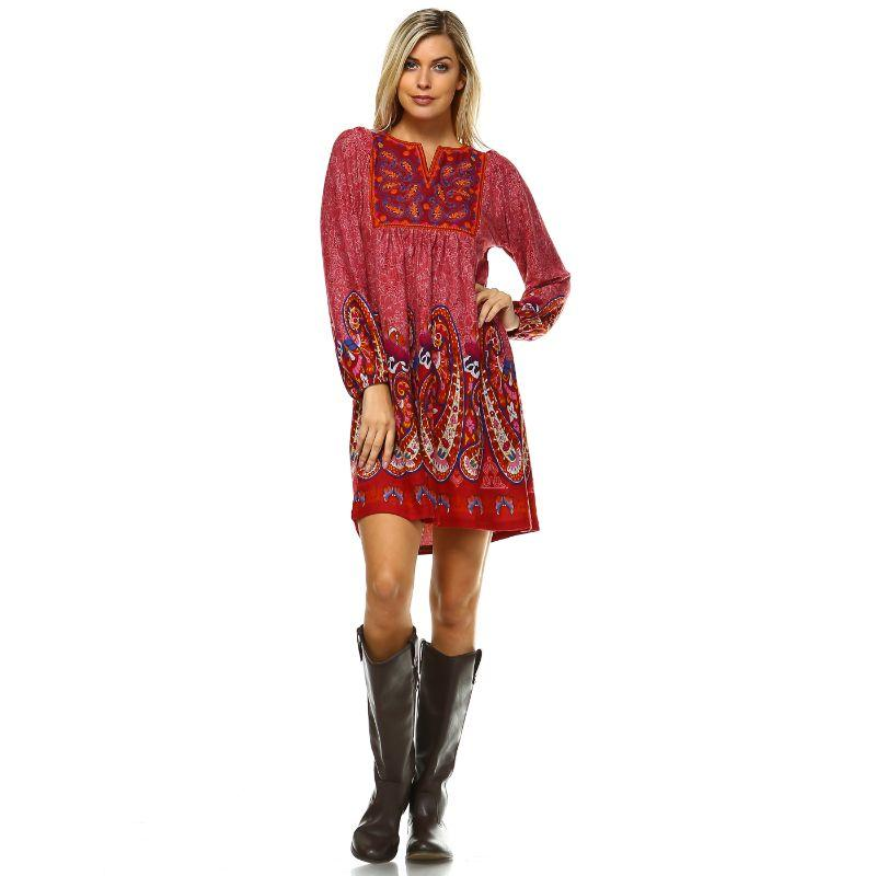 Women's Apolline Embroidered Sweater Dress by Whitemark-Brick Red-L-Daily Steals