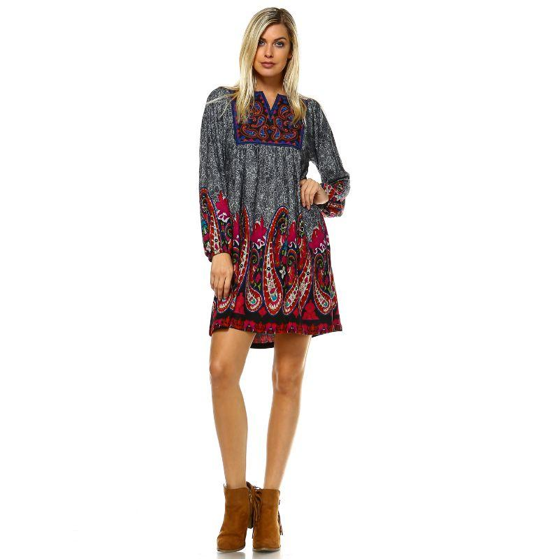 Women's Apolline Embroidered Sweater Dress by Whitemark-Gray-M-Daily Steals