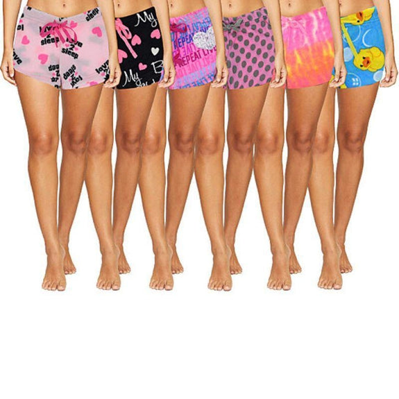 Women's Assorted Super Soft Ultra Plush Fun Funky Printed Shorts - 1, 2, 4, 5 Pack-L-1 Pack-