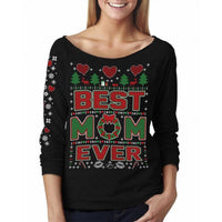 Women's Awesome Ugly Christmas Sweater French Terry Off-Shoulder 3/4 Top-Best Mom Ever - Black-M-Daily Steals