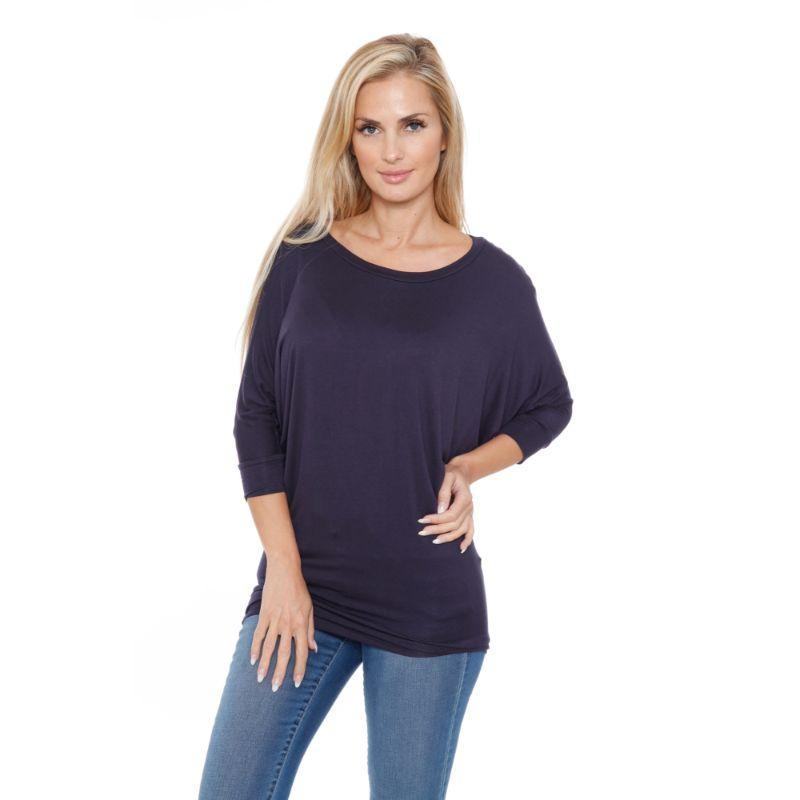 Women's Banded Dolman Top by Whitemark-Black-L-Daily Steals