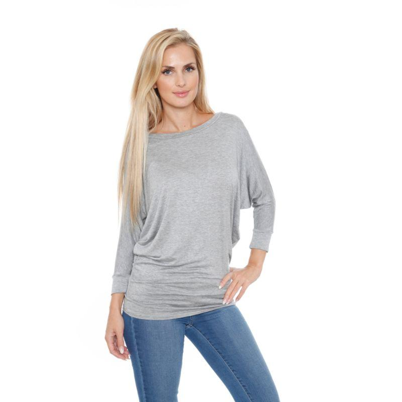 Women's Banded Dolman Top by Whitemark-Gray-L-Daily Steals
