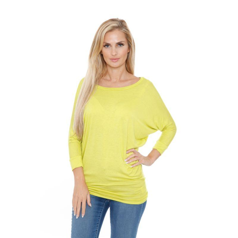 Women's Banded Dolman Top by Whitemark-Lime-XL-Daily Steals