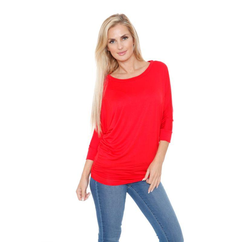 Women's Banded Dolman Top by Whitemark-Red-L-Daily Steals