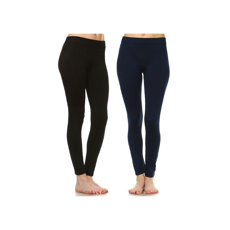 Women's Basic Solid Color Leggings by Whitemark - 2 Pack-Style 208 01-Black , 02-Navy-Daily Steals