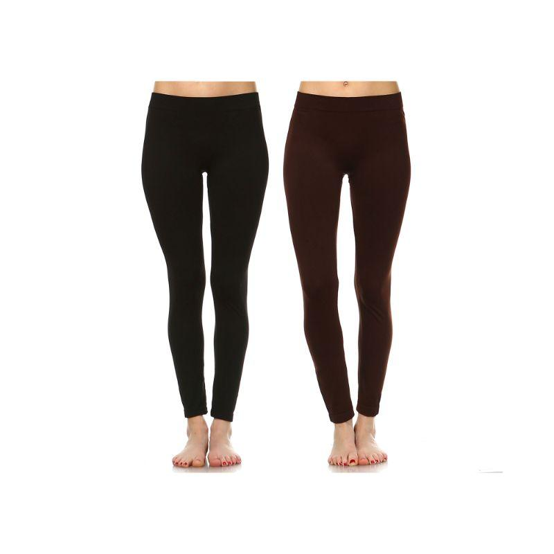 Women's Basic Solid Color Leggings by Whitemark - 2 Pack-Style 208 01-Black , 03-Brown-Daily Steals