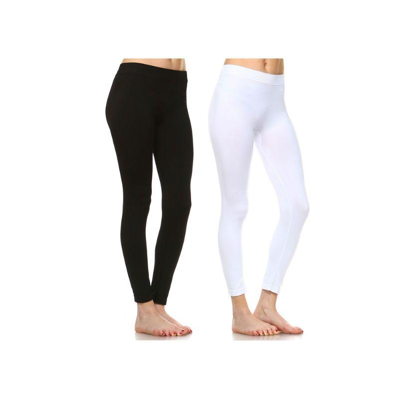 Women's Basic Solid Color Leggings by Whitemark - 2 Pack-Style 208 01-Black ,04-White-Daily Steals