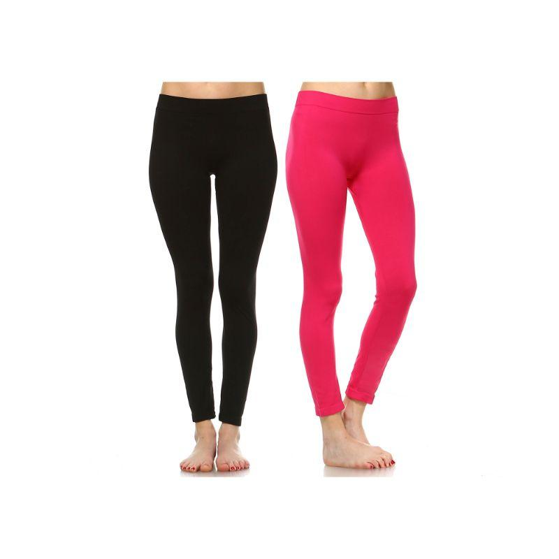 Women's Basic Solid Color Leggings by Whitemark - 2 Pack-Style 208 01-Black , 05-Fuchsia-Daily Steals