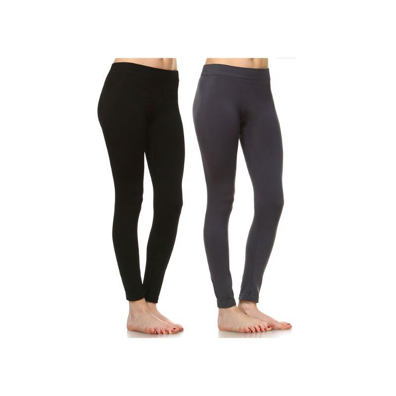 Women's Basic Solid Color Leggings by Whitemark - 2 Pack-Style 208 01-Black , 06-Charcoal-Daily Steals