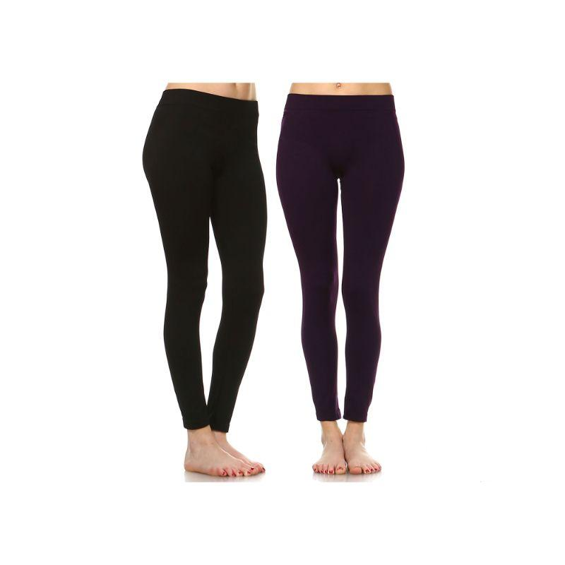 Women's Basic Solid Color Leggings by Whitemark - 2 Pack-Style 208 01-Black , 07-Purple-Daily Steals