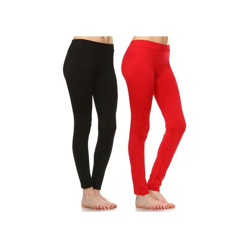 Women's Basic Solid Color Leggings by Whitemark - 2 Pack-Style 208 01-Black , 09-Red-Daily Steals