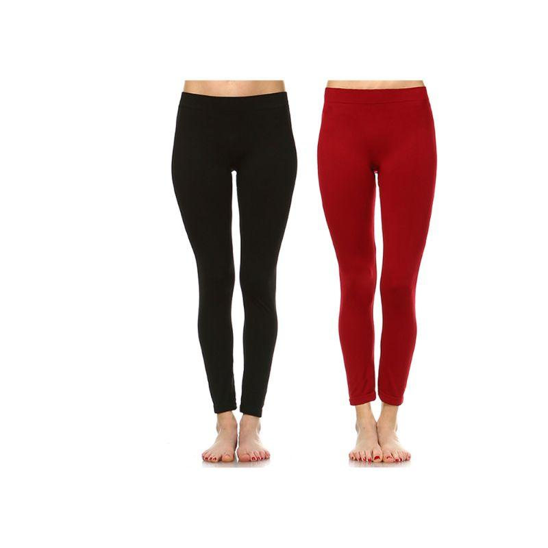 Women's Basic Solid Color Leggings by Whitemark - 2 Pack-Style 208 01-Black , 11-Burgundy-Daily Steals