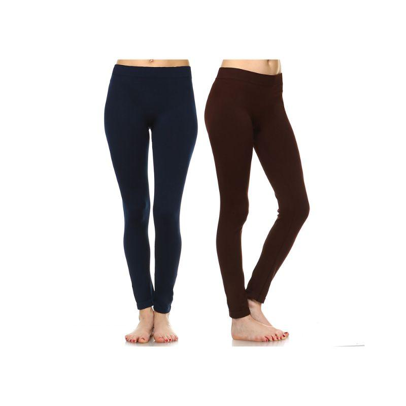 Women's Basic Solid Color Leggings by Whitemark - 2 Pack-Style 208 02-Navy, 03-Brown-Daily Steals