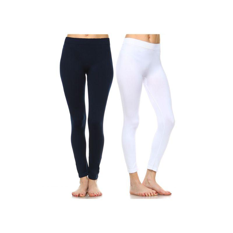 Women's Basic Solid Color Leggings by Whitemark - 2 Pack-Style 208 02-Navy, 04-White-Daily Steals