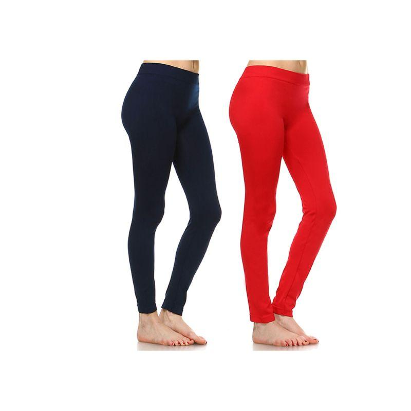 Women's Basic Solid Color Leggings by Whitemark - 2 Pack-Style 208 02-Navy, 09-Red-Daily Steals