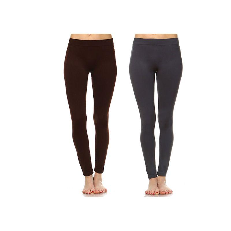 Women's Basic Solid Color Leggings by Whitemark - 2 Pack-Style 208 03-Brown, 06-Charcoal-Daily Steals