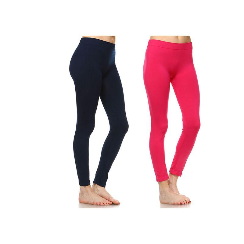 Women's Basic Solid Color Leggings by Whitemark - 2 Pack-Style 208 05-Fuchsia, 02-Navy-Daily Steals
