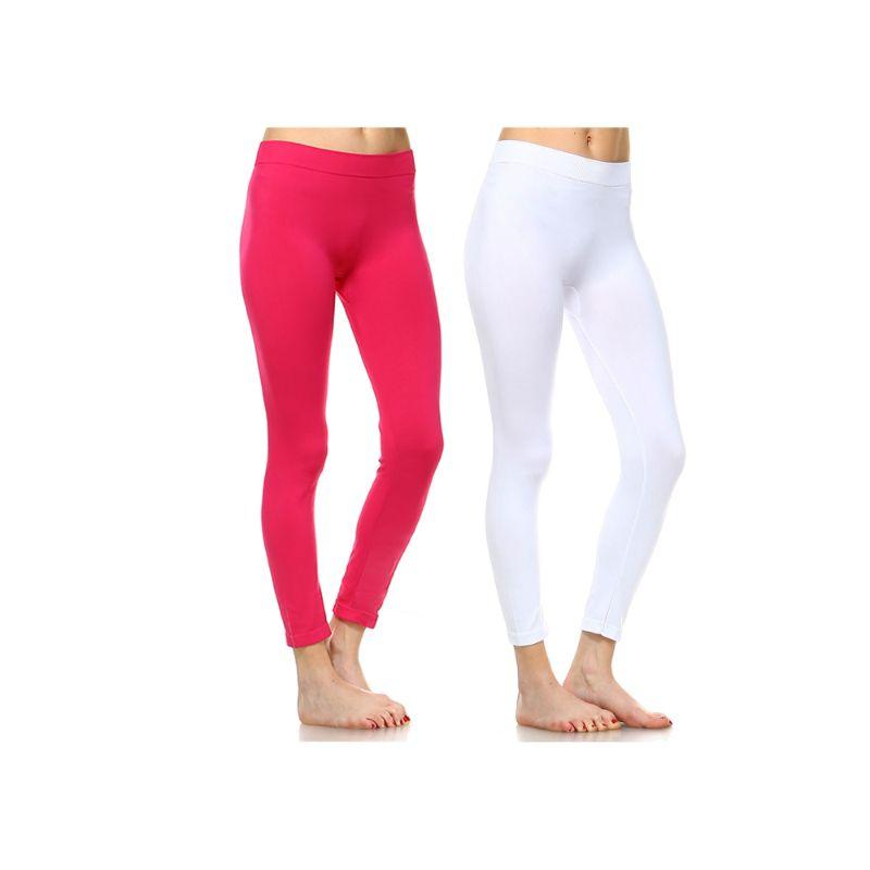 Women's Basic Solid Color Leggings by Whitemark - 2 Pack-Style 208 05-Fuchsia, 04-White-Daily Steals