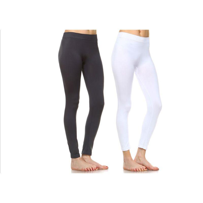 Women's Basic Solid Color Leggings by Whitemark - 2 Pack-Style 208 06-Charcoal, 04-White-Daily Steals