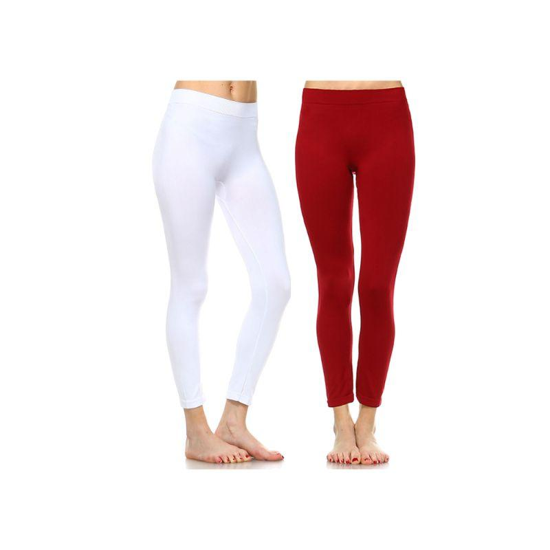 Women's Basic Solid Color Leggings by Whitemark - 2 Pack-Style 208 11-Burgundy, 04-White-Daily Steals