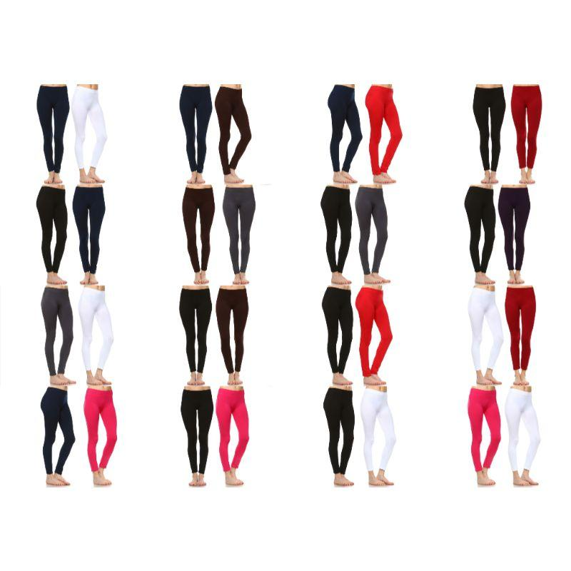 Women's Basic Solid Color Leggings by Whitemark - 2 Pack-Daily Steals