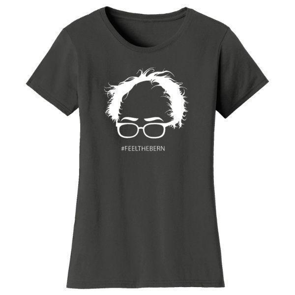 "Daily Steals-Women's Bernie Sanders ""Feel The Bern"" T-shirts-Women's Apparel-Charcoal-S-"